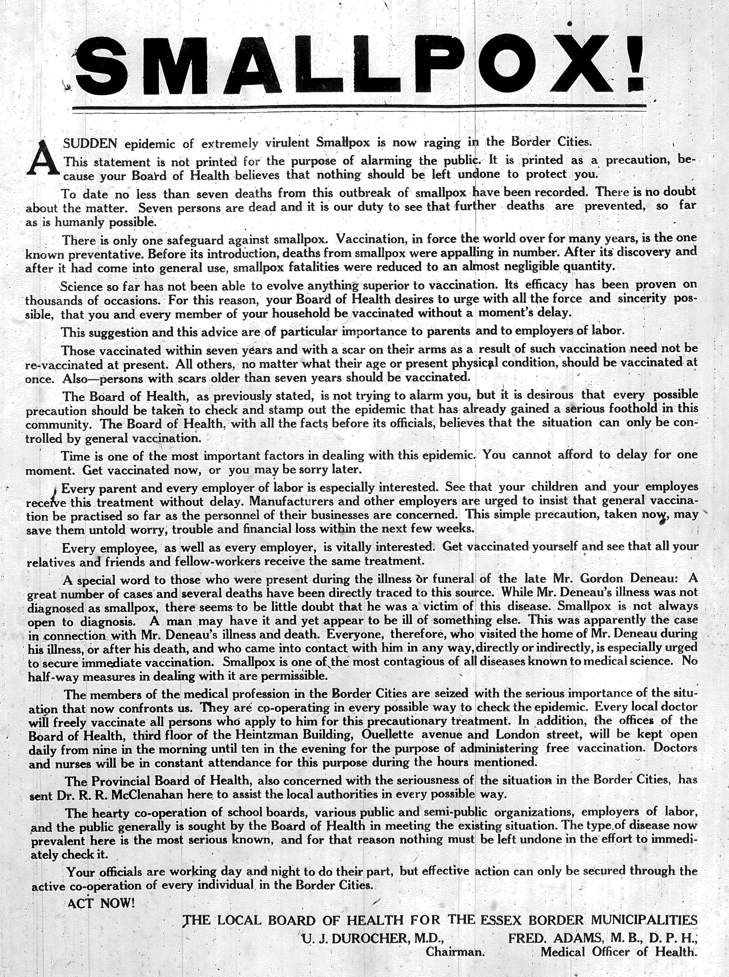 Smallpox warning reduced- Feb 25 1924